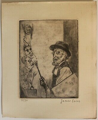 £72.64 • Buy Etching JAMES ENSOR  Signed By Hand,gravure,radierung,aguafuerte