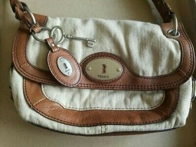 £2.50 • Buy Fossil 'Vintage 1954' Canvas With Tan Leather Trim Small Shoulder Bag