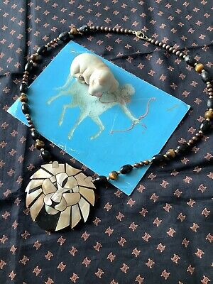 £3 • Buy Spare Repair Vintage Seashell Lion Necklace With A Few Tiger Eyes