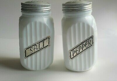 $14.99 • Buy Vintage White Milk Glass Salt And Pepper Shakers Vertical Lines Labeled