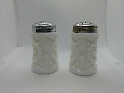 $8 • Buy Vintage White Milk Glass Carved Ceramic Salt And Pepper Shakers With Metal Lids