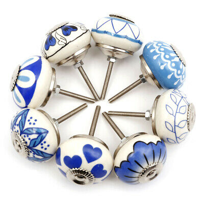 £13.49 • Buy Hand Painted Set Of 8 Mixed Blue&White Floral Leaves China Ceramic Door Knobs