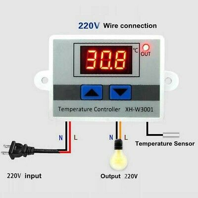 £9.75 • Buy 12V,220V Digital LED Temperature Controller 10A Thermostat Control Switch Probe