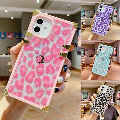 AU13.54 • Buy Cute Glitter Bling Leopard Square Case Cover For IPhone 12 11 Pro Max XS XR 7 8