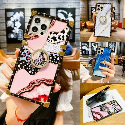 AU12.18 • Buy Cute Bling Marble Leopard Square Case W/ Ring For IPhone 12 11 Pro Max XS XR 7 8