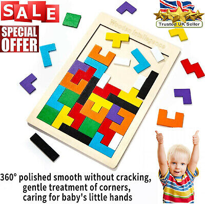 £8.28 • Buy Kids Wooden Funny Toys Wood Tetris Puzzle Learning Educational Jigsaw Toy Gift