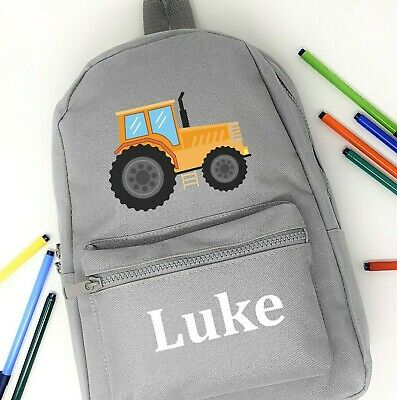 AU33.88 • Buy Personalised Backpack School Bag,Tractor + Name,Choice Of Bag Size + Colour, 201