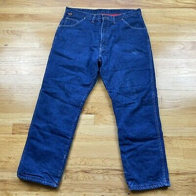 $34.99 • Buy Wrangler Mens Blue Jeans Red Fleece Lined Straight Classic Med Wash Size 30x30