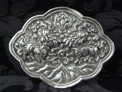 £89.99 • Buy ANTIQUE CHINESE SILVER REPOUSSE FOO DOGS/GUARDIAN LIONS LARGE BELT BUCKLE~19c