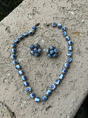 $19.99 • Buy Vtg Gorgeous Blue Millefiori Necklace With Clip On Earrings
