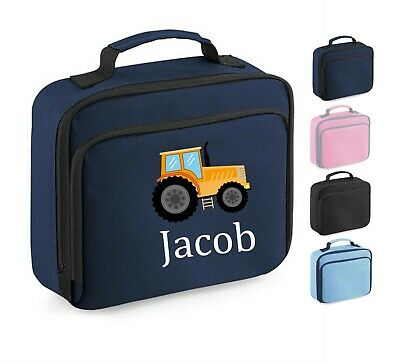 AU20.61 • Buy Personalised School Lunch Bag, Tractor Farm Design + Name, Choice Of Colour, 201