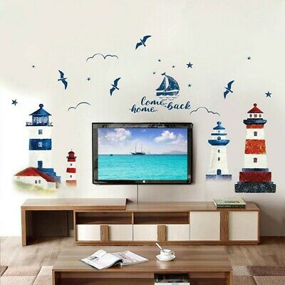 £9.06 • Buy Nautical Boat Seagull Lighthouse Sea Ocean Home Wall-Sticker Decals Decor