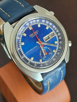 $ CDN438.86 • Buy Vintage Seiko Chronograph Day/date Automatic Ref 6139-6019 Blue Dial Working