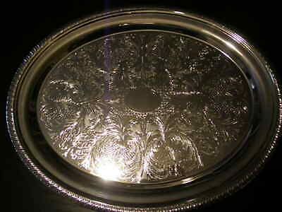 £49.99 • Buy Large Super Shiny Vintage Oval Silver Plated Ornate  Cavalier  Gallery Tray