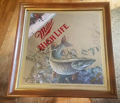 $79.99 • Buy Miller Beer Sign Mirror Wildlife Collection Wisconsin Ice Fishing Tip Up Bar Pub