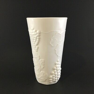 """$4.85 • Buy Vintage Colony Harvest Milk Glass Grapes & Leaves Tall Flat Tumbler 5-3/4"""" Tall"""