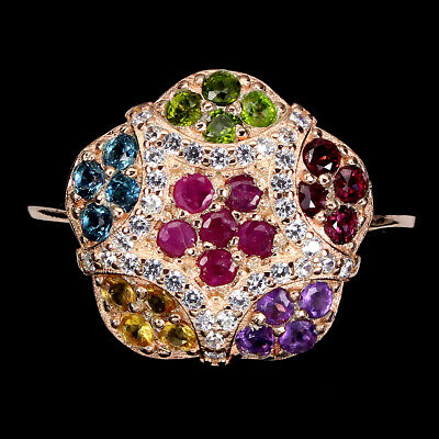 £0.90 • Buy Round Ruby Amethyst Chrome Diopside Gems Cz 925 Sterling Silver Ring Size 8