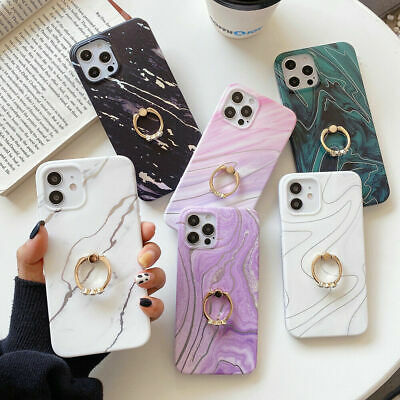 AU13.58 • Buy For IPhone 12 11 Pro XS XR 7 8 SE Marble Case With Ring Stand Holder Phone Cover