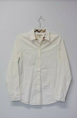 $13.60 • Buy Women's Burberry Brit Button Up Size S - White, Plaid Collar