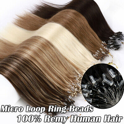 £36.30 • Buy THICK Micro Loop Beads Ring Russian Real Human Hair Extensions Pre Bonded 16-24