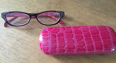 £1.99 • Buy Pink Retro Style Reading Glasses With Diamante Detail +1.00 New With Case