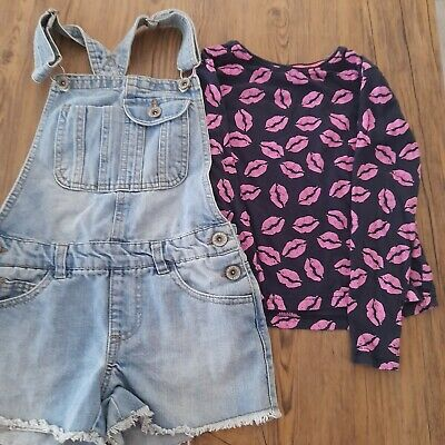 £3 • Buy Girls Denim Short Dungarees Lipstick Top Outfit Age 7-8 Years
