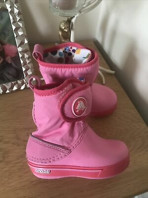 £6 • Buy Pink Crocs  Boots / Wellies Wellington Boots Toddler Child Size 8 Immac
