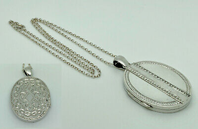 £124.99 • Buy Antique Victorian Sterling Silver Engraved Oval Locket Pendant + 18.5  Necklace