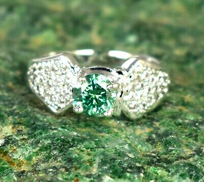 $1.25 • Buy  3.32 Ct Green Diamond Solitaire Halo Men's Engagement Ring