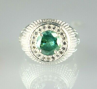 $0.99 • Buy Birthday Gift 4.29 Ct Green Diamond Solitaire Halo Men's Sterling Silver Ring