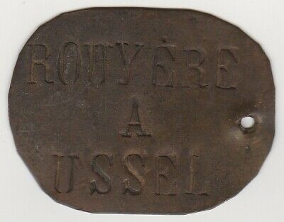 $9.99 • Buy ANTIQUE French Brass Or Copper Tag - ROUYERE A USSEL - Railroad Baggage Or Mail