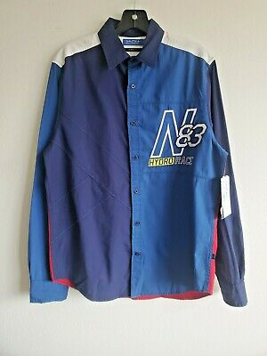 $30 • Buy Nautica Mens Navy Embroidered Classic Fit Button-Down Shirt NWT Size Large
