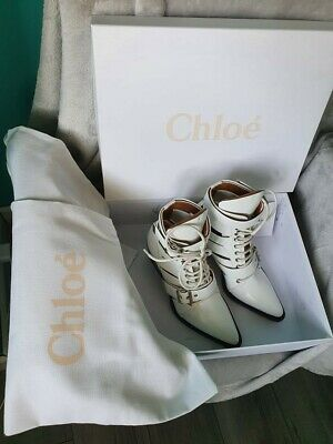 £149 • Buy RRP £995 - CHLOE White Leather Ankle Boots - Size 5 - Brand New