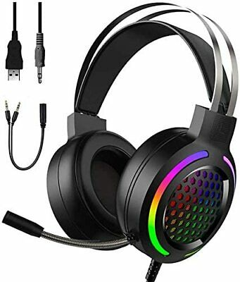 AU29.68 • Buy Gaming Headset LED Headphones USB Wired For PC Laptop PS4 Computer MAC With Mic