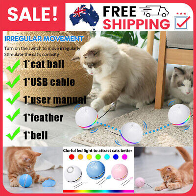 AU17.19 • Buy Cat Toy LED Light Ball Electronic Automatic Rolling Funny Interactive Pet Kitten