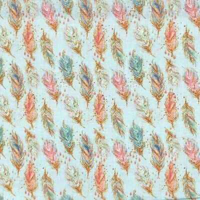 £5.35 • Buy 100% Craft Cotton Fabric Half Metre Chatham Glyn Chic Floating Feathers Blue