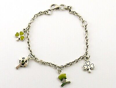 £26.99 • Buy Vintage Sterling Silver Charm Bracelet With Connemara Marble Charms Kit Heath