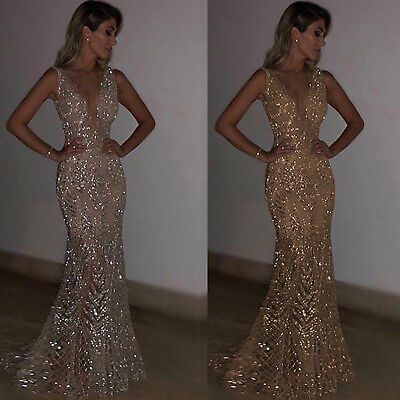 £30.39 • Buy Womens Sparkly Bling V Neck Long Maxi Dress Ball Gown Prom Evening Party Sequins