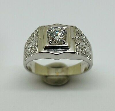 AU1799 • Buy 18K White Gold 0.63ct Diamond Mens Dress Ring - With Certificate Of Valuation!