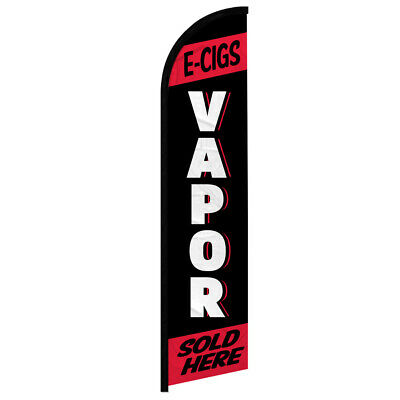 AU24.65 • Buy E-Cig Vapor Sold Here Windless Swooper Advertising Feather Flag Red Vape Shop