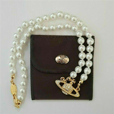 AU17.59 • Buy Vivienne Westwood Mini Bas Relief Pearl CHOKER Necklace With Gold/Silver Orbit