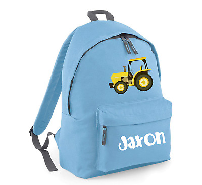 AU31.99 • Buy Personalised Backpack School Bag, Tractor + Name, Choice Of Size + Colour, 211