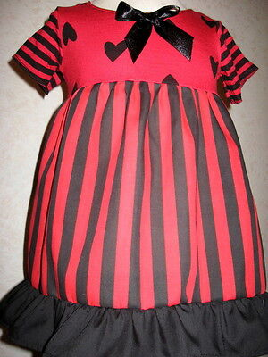 £23.50 • Buy Striped Party Dress Set Baby Girls Red Black Hearts Headband Shower Gift Gothic