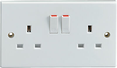 £5.41 • Buy Double Socket Outlet 2 Gang 13A Single Pole Switched Plug - Standard White