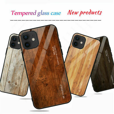AU9.87 • Buy Wood Tempered Glass Case For IPhone 7 8 6 6S Plus 12 11 Pro X XS Max XR Cover