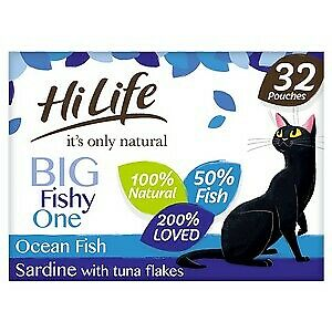 £20.15 • Buy HiLife It's Only Natural Big Fishy One In Jelly Adult Cat Food Pouches - 32x70g