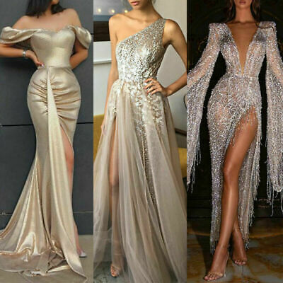 £28.49 • Buy Women's Sequin Sparkly Wedding Evening Party Cocktail Ball Gown Prom Maxi Dress