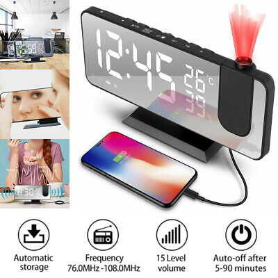 £12.99 • Buy 7.5  LED Digital Projection Temperature Alarm Clock Humidity FM Phone Charger