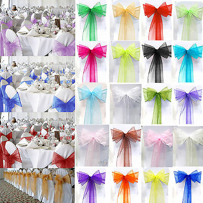 £8.89 • Buy 10 25 50 100 Organza Sashes Chair Cover Bow Sash BOW BOWS Tie Wedding Party UK