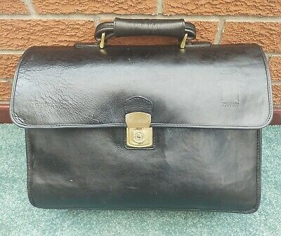 £43.75 • Buy HIDESIGN Black Leather Briefcase, Large And Spacious, Cheney Lock